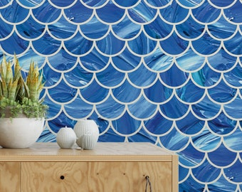 Painted scales removable wallpaper / cute self adhesive wallpaper / painted mermaid scales wall mural G141-27