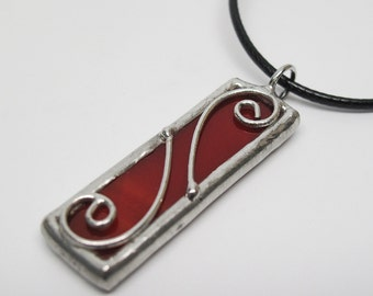 Cherry Swirls - Stained Glass Pendant