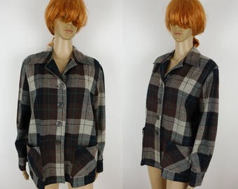 Vintage 40s 50s Wool Plaid 49er Style Jacket Vic Gene Slick Jac Shirt Women's L XL