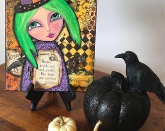 Steam punk witch, toil and trouble, good witch, cute witch, mixed media halloween, halloween decorations, steam punk halloween, witch art