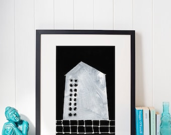 Abstract House Illustration Print, House #9 Black and White Contemporary Art Print of Original Sketch from House Series