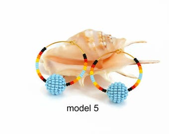 Hoop earrings Beads Beaded earrings Statement earrings Boho earrings Handmade earrings Ball earrings Pom Pom earrings