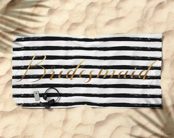 Oversized Beach Towel - Bridesmaid and Stripes - Gold Black and White - Bundle with a Tote and Pouch!