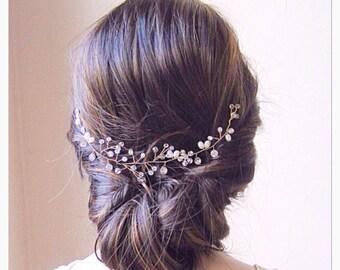 Bridal headpiece, bridal hair vine,,Gold hair vine, bridal hair comb, bridal headband,wedding headpiece,hair vine