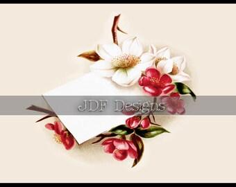 Instant Digital Download, Antique Victorian Graphic, Floral Sprig Label, Calling, Place Card, Spring Printable Image Scrapbook, Wedding