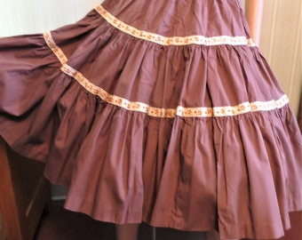 Vintage Tiered Full Skirt, Brown with Orange Gold Trim, Line Dance Skirt, Square Dance, Retro Country Western Summer Skirt, Waist 26   27 in
