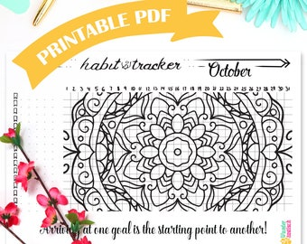 BuJo Printable Habit Tracker Mandala • October 2017 • Bullet Journal • A5 Planner Inserts • Daily Habits • Productivity Planner • Health