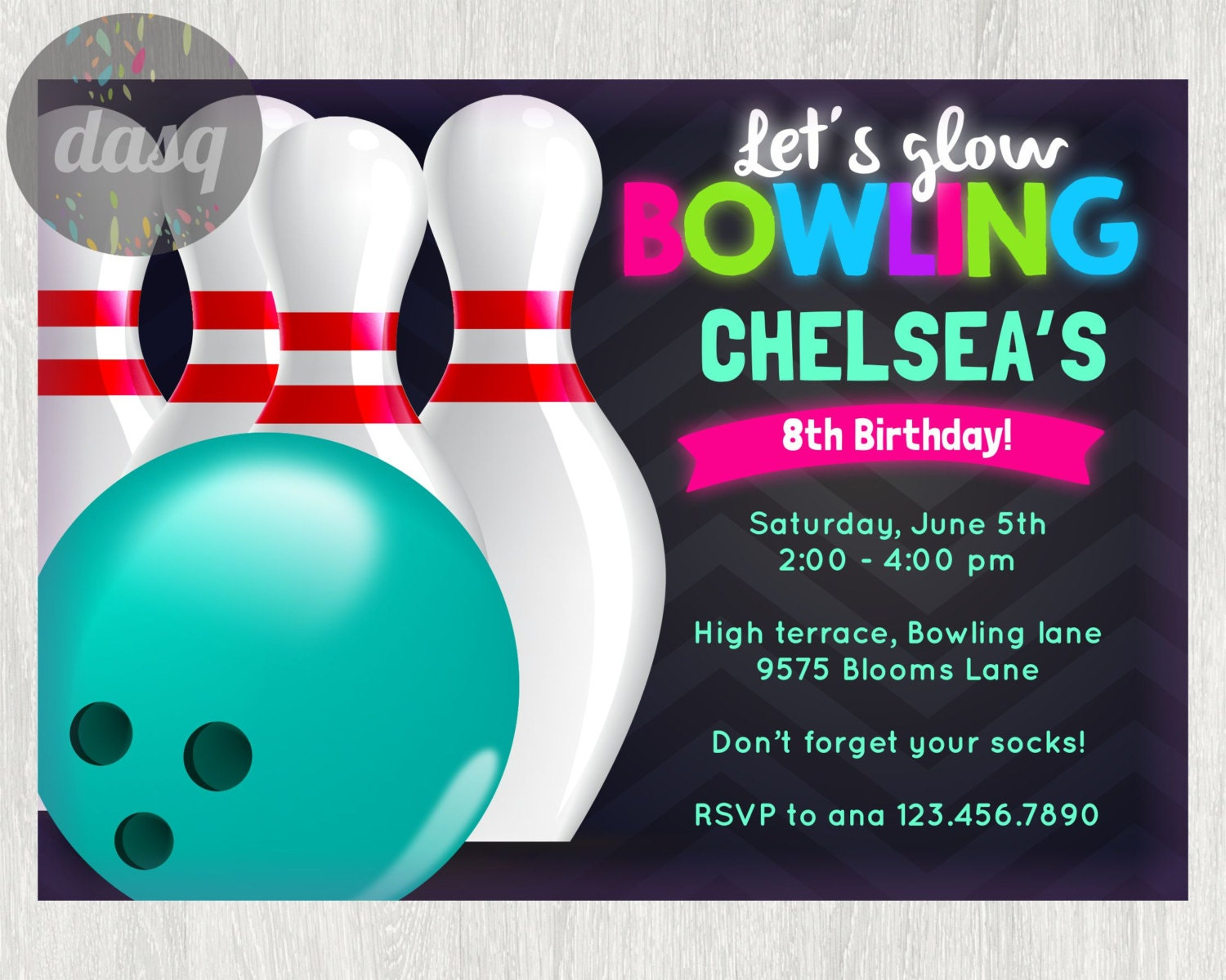 INSTANT DOWNLOAD Bowling InvitationPrintable Bowling