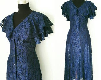 80s does 30s Navy Blue Sheer Lace Dress with Button Down Front
