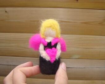 Valentine fairy Waldorf doll Steiner fairy heart angel pink angel needle felted gift for mum today elf kendal Valentine fairies Steiner doll