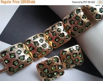 ON SALE Vintage Leopard Rhinestone Bracelet Earring Set Chunky Wide Crystal High End Hard To Find Rare Jewelry Old Hollywood Glamour 1980's