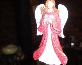 Danish Ceramic Christmas Angel with Heart,Hanging tree or window decoration,Ornament