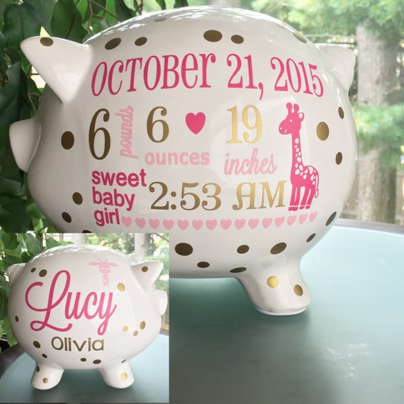 Personalized piggy bank custom baby birth stats gift baby like this item negle Choice Image