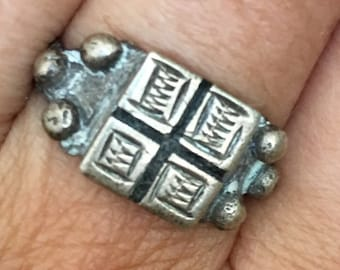 Old Berber SILVER Ring, Moroccan Sahara 1.8 cm IS size 9 1/2