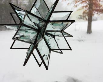 SUNCATCHER 3D - 24 Point Stained Glass Bevel Star / Snowflake Suncatcher