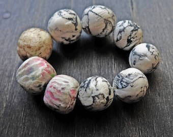 Pale art bead set by fancifuldevices- nine (9) rustic handmade polymer clay