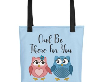 Owl Love Bookbag Waterproof Tote Bag | Owl Book Bag Beach Tote | Owl Lover Owl Tote Bag