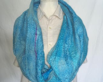 Nuno felted scarf/collar, with silk and merino wool, light blue/ultramarine with purple accents, loop/infinity