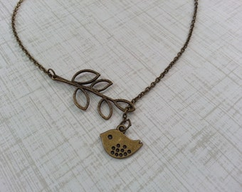 Antique Brass mod bird lariat Necklace
