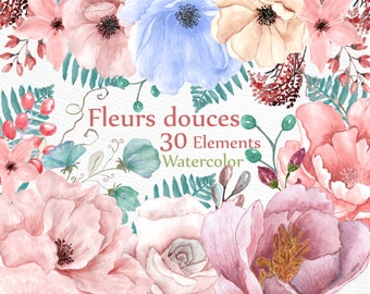 "Watercolor floral clipart: ""WEDDING FLOWERS"" wedding clipart DIY invite Peonies clipart floral clip art watercolor flowers separate flowers"