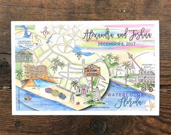 Custom Wedding Maps, Personalized Wedding Maps, Watercolor Wedding Maps, Map Illustration, Hand Painted Guest Map, Hand Drawn