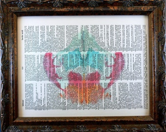 Rorschach Ink Blot 8 Art Print on Dictionary Book Page