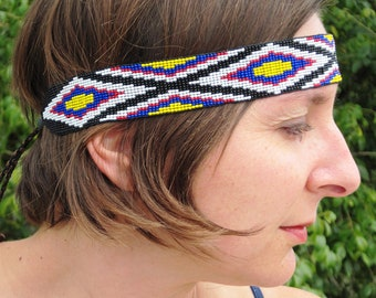 Native American Style Inspired Black White Blue Yellow and Red Beaded BOHO Headband or Hatband
