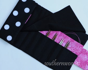 Knitting Needle Case for Interchangeable Tips and Circulars - Black & White Polka Dots with Hot Pink Trim