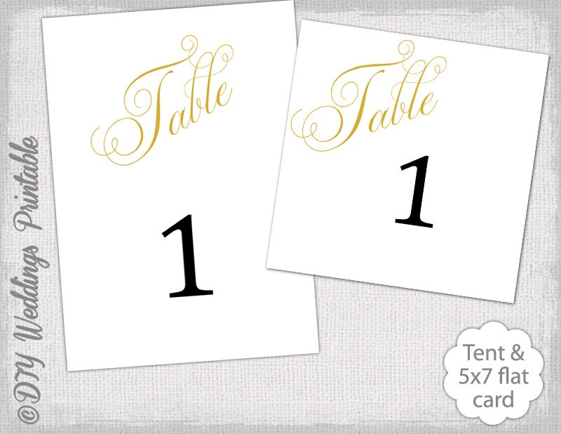 Table Number Template Diy Gold Script Number Cards