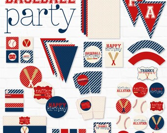 Baseball Party PRINTABLES (INSTANT DOWNLOAD) by Lindi Haws of Love The Day