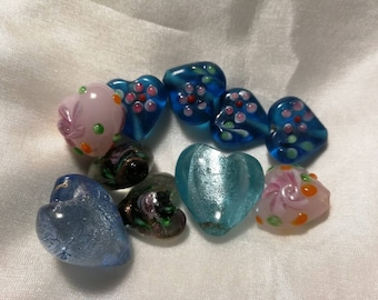10 glass hearts