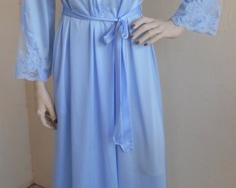 Vintage Lorraine Dressing Gown Blue Nylon Robe Size Small