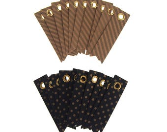Kraft Pattern Paper Pennant Tags, 2-Inch, 20-Count