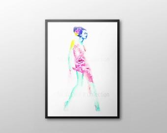 WATERCOLOR MODEL  PRINT, lv Fashion Print, Louis Art, lv Figurative art, Louis Vuitton Wall Art, Fashionista Art, Watercolor lv prints