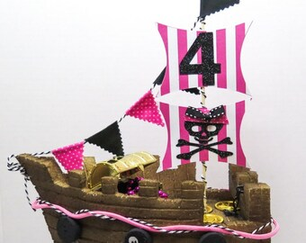 Girl Pirate Ship Topper
