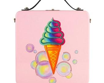 Women crossbody pink handbag Ice Cream