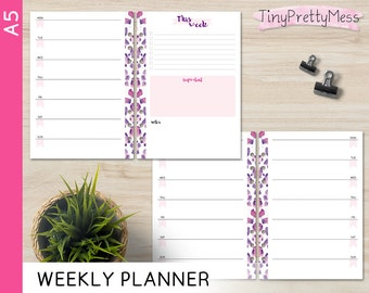 Printable A5 Weekly Planner Week on 1 page Perpetual Undated Inserts for Filofax A5, Kikki K Large - PDF - Leopard Design