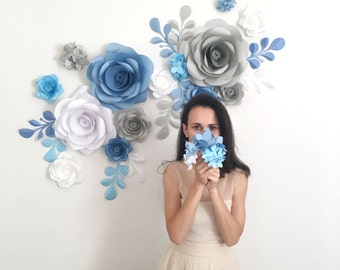 Paper Flower Backdrop - Paper Flowers - Paper Flower Wall - Giant Paper Flowers (code:#127)