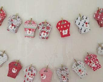Advent calendar handmade red and white theme