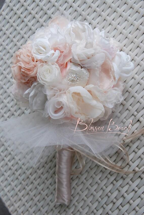 Blush fabric flower and brooch bridal bouquet. Fabric flower