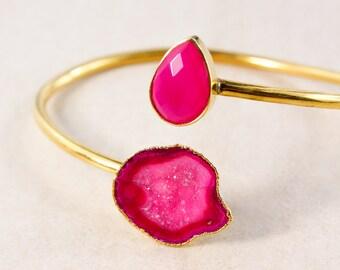 Gold Pink Geode & Pink Chalcedony Cuff – Geode Bracelet