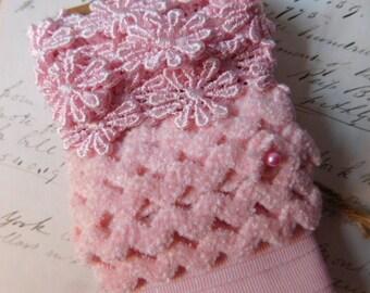 Pink Ribbon or Trim - Daisies and Polka Dots