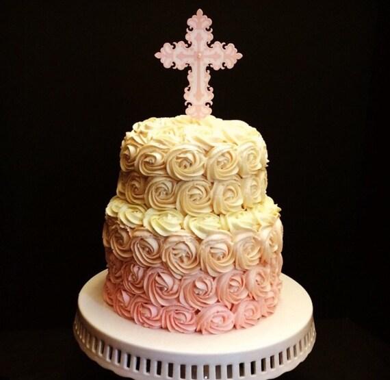 Religious Cross Baptism / Christening Cake Topper