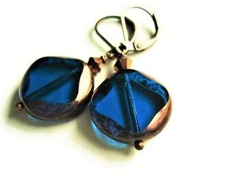 Blue Earrings Czech Glass Jewelry Vintage Style Copper Earrings Blue Jewelry Statement Earrings Bohemian Jewelry Dangle Earrings  Gift Idea