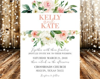Pink Peach White Watercolor Floral Wedding Invitation