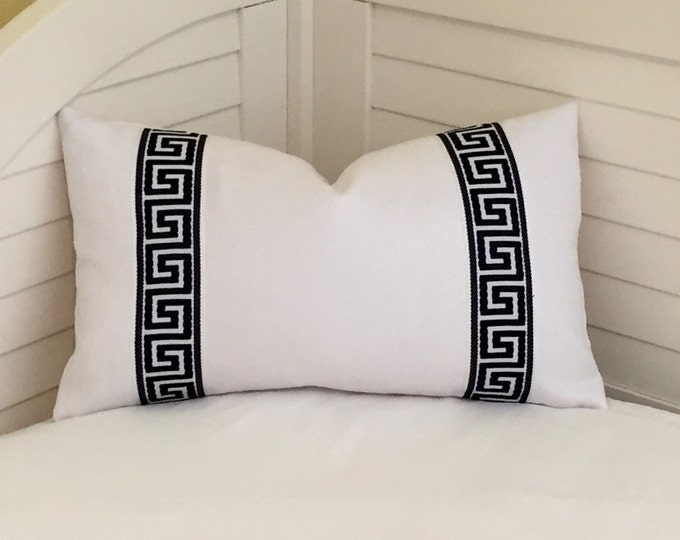 White Linen with Black and White Greek Key Tape Lumbar Designer Pillow Cover - Other Trim Colors Available