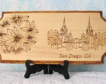 LDS Temple Woodburned Plaque, San Diego, California - CUSTOM EXAMPLE