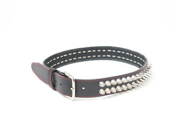 "1-1/2"" (38mm) wide Genuine Leather Belt with 2 rows 1/2"" (13 mm) UK/77 Cone Studs Crome Silver Studded Spiked Made in U.S.A. NYC"