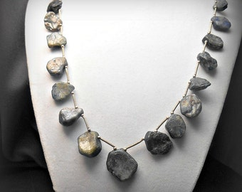 Rustic Rough Cut Blue Kyanite and Silver Bib Necklace