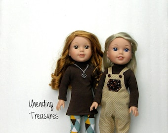 14 inch doll clothes made to fit like wellie wisher doll clothes brown turtleneck top and multi colored triangles leggings